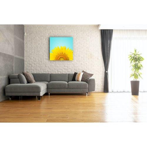 Karo-art Schilderij - Zonnebloem , premium print, 3 maten