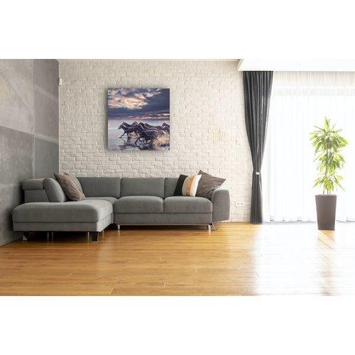 Karo-art Schilderij - Wilde paarden , premium print, 3 maten