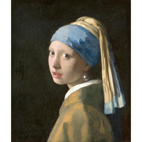 Karo-art Schilderij -Johannes Vermeer - Het meisje met de parel  3 maten,  reproductie van het beroemde schilderij, 1 op 1 kopie