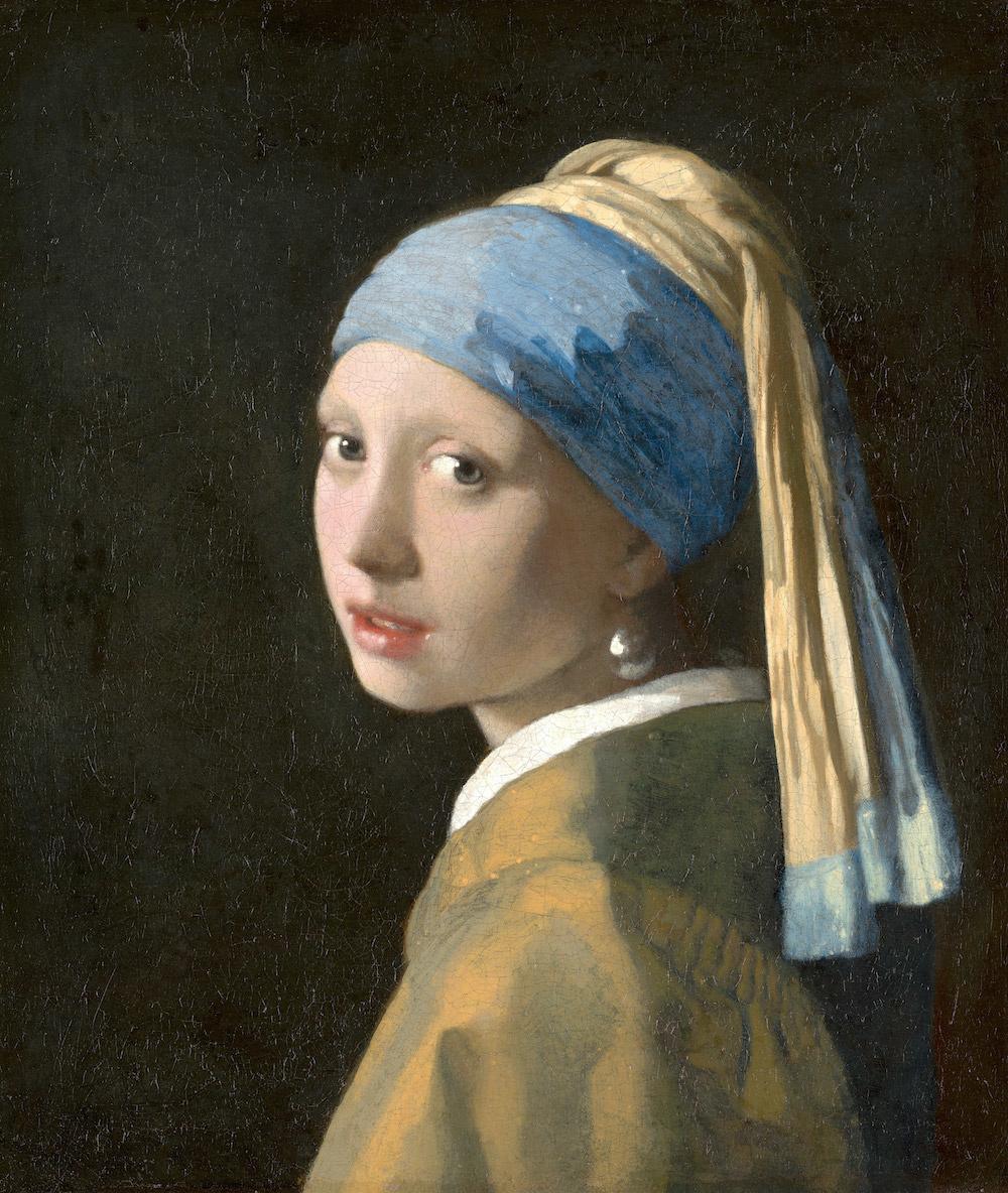 Schilderij -Johannes Vermeer - Het meisje met de parel 3 maten, reproductie van het beroemde schilde