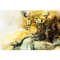 Karo-art Schilderij - Tijger aquarel (print op canvas),  2 maten, Premium print