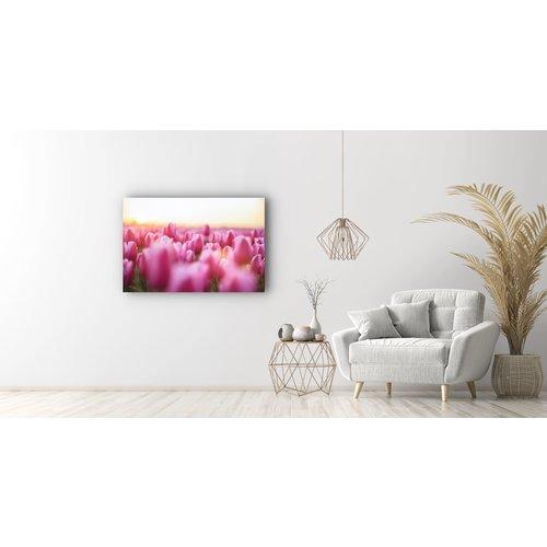 Karo-art Schilderij - Roze tulpen,  2 maten, Premium print