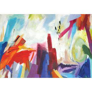 Karo-art Schilderij - Abstract Aquarel (print op canvas),  2 maten, Premium print