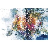 Karo-art Schilderij - Boom in herfst (print op canvas),  2 maten, Premium print