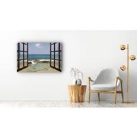 Karo-art Schilderij - Uitzicht op zee door raam,  2 maten, Premium print