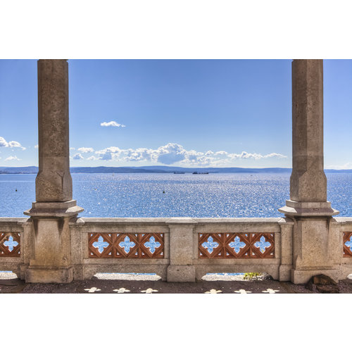Karo-art Schilderij - Uitzicht op zee oud balkon,  2 maten, Premium print