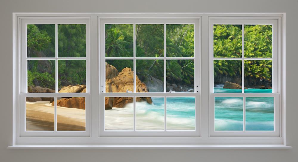 Schilderij - Uitzicht op kustlijn, 2 maten, Premium print