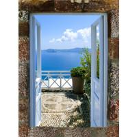 Karo-art Schilderij -  Uitzicht op Griekse zee ,  2 maten, Premium print