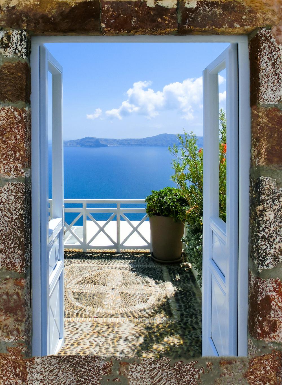 Schilderij - Uitzicht op Griekse zee , 2 maten, Premium print