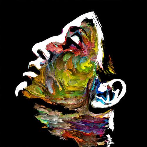 Karo-art Schilderij - Kleurenportret van jonge dame, 3 maten, premium print, wanddecoratie