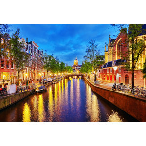 Karo-art Schilderij - Aan de Amsterdamse grachten,  2 maten, Premium print