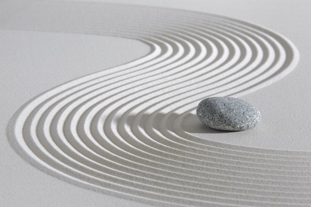 Schilderij - Japanse Zen tuin, 2 maten, Premium print, wanddecoratie