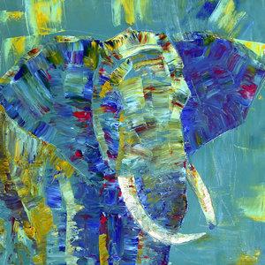 Karo-art Schilderij - Olifant in kleuren, 3 maten, print op canvas, wanddecoratie
