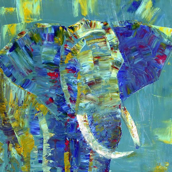 Schilderij - Olifant in kleuren, 3 maten, print op canvas, wanddecoratie