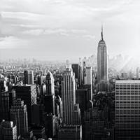 Karo-art Schilderij - New York City skyline in zwart en wit, Empire state building, 3 maten, print op canvas,