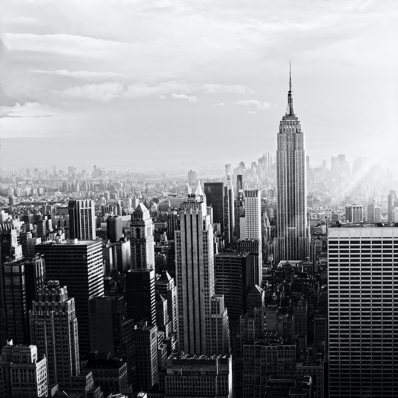 Schilderij - New York City skyline in zwart en wit, Empire state building, 3 maten, print op canvas,
