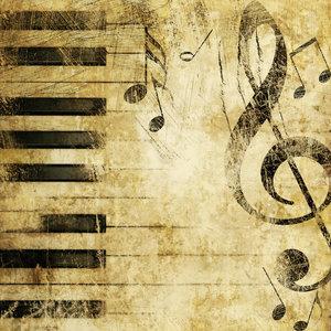 Karo-art Schilderij - Grunge piano, muziek, 3 maten, print op canvas