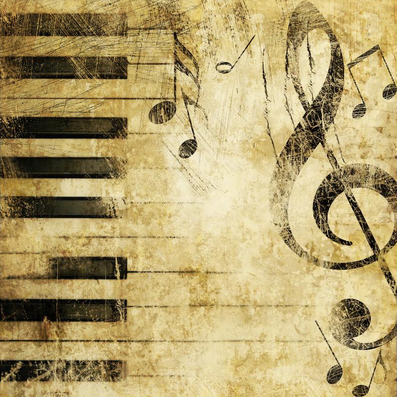 Schilderij - Grunge piano, muziek, 3 maten, print op canvas