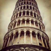 Karo-art Schilderij - Toren van Pisa, close up, 3 maten, print op canvas