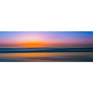 Karo-art Schilderij - Spiegelgladde zee bij zonsondergang, panorama, 2 maten