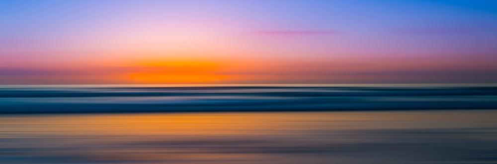 Schilderij - Spiegelgladde zee bij zonsondergang, panorama, 2 maten