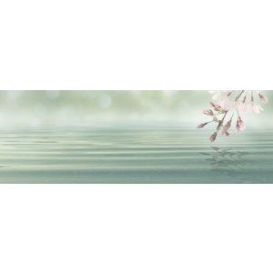 Karo-art Schilderij - Bloesem in het roze boven mint groene zee, panorama, 2 maten