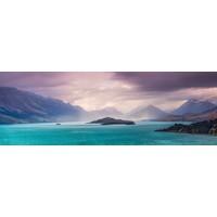 Karo-art Schilderij - Azuurblauw bergmeer , panorama, 2 maten