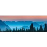 Karo-art Schilderij - Bergen na zonsondergang , panorama, 2 maten