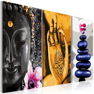Schilderij -Oosters Trio , Boeddha ,Stenen, Zen , 3 luik , 120x60cm