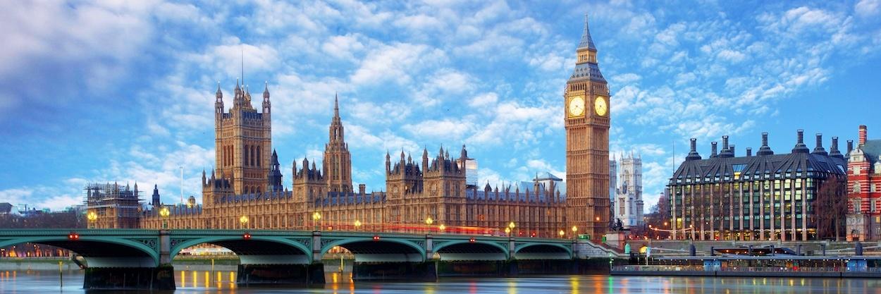 Schilderij - The Big Ben, Londen , panorama, premium print, 2 maten