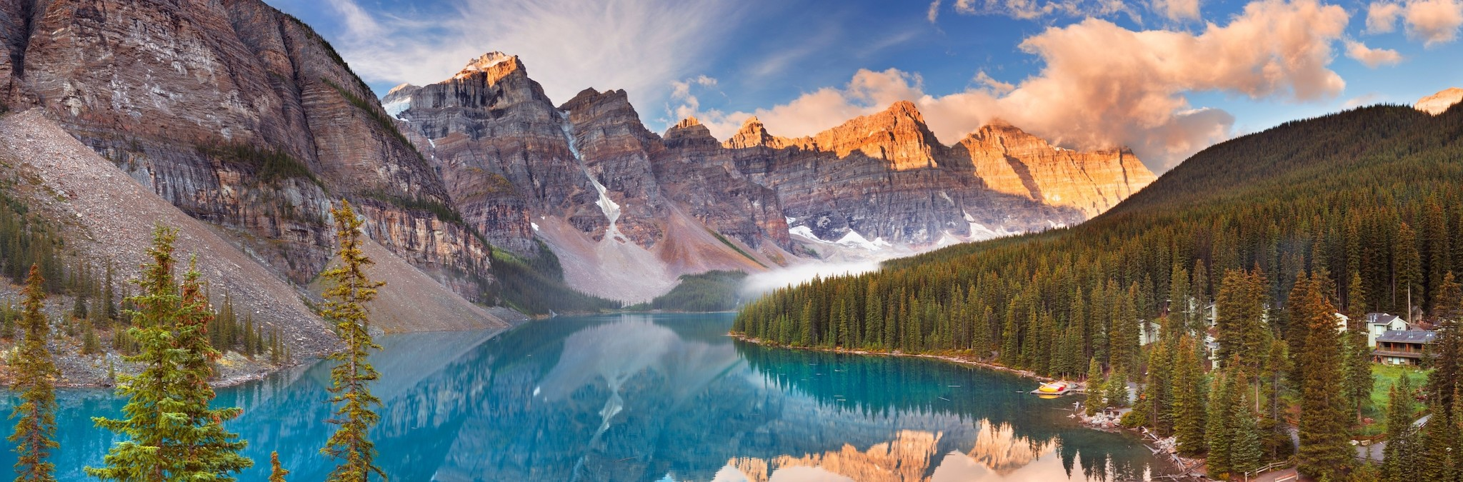 Schilderij - Morene Meer, Nationale park van Banff, Canada, panorama, 2 maten