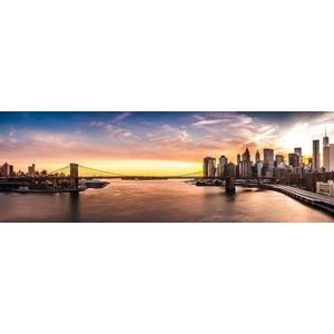 Karo-art Schilderij -Brooklyn Bridge, NYC, panorama,  2 maten