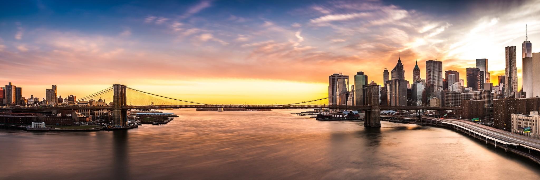 Schilderij -Brooklyn Bridge, NYC, panorama, 2 maten