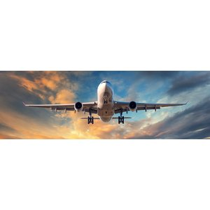 Karo-art Schilderij -Dalend vliegtuig, close up, panorama,  2 maten