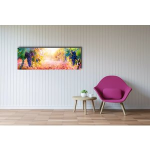 Karo-art Schilderij -Druiven aan wijnranken,  Premium print  (wanddecoratie)