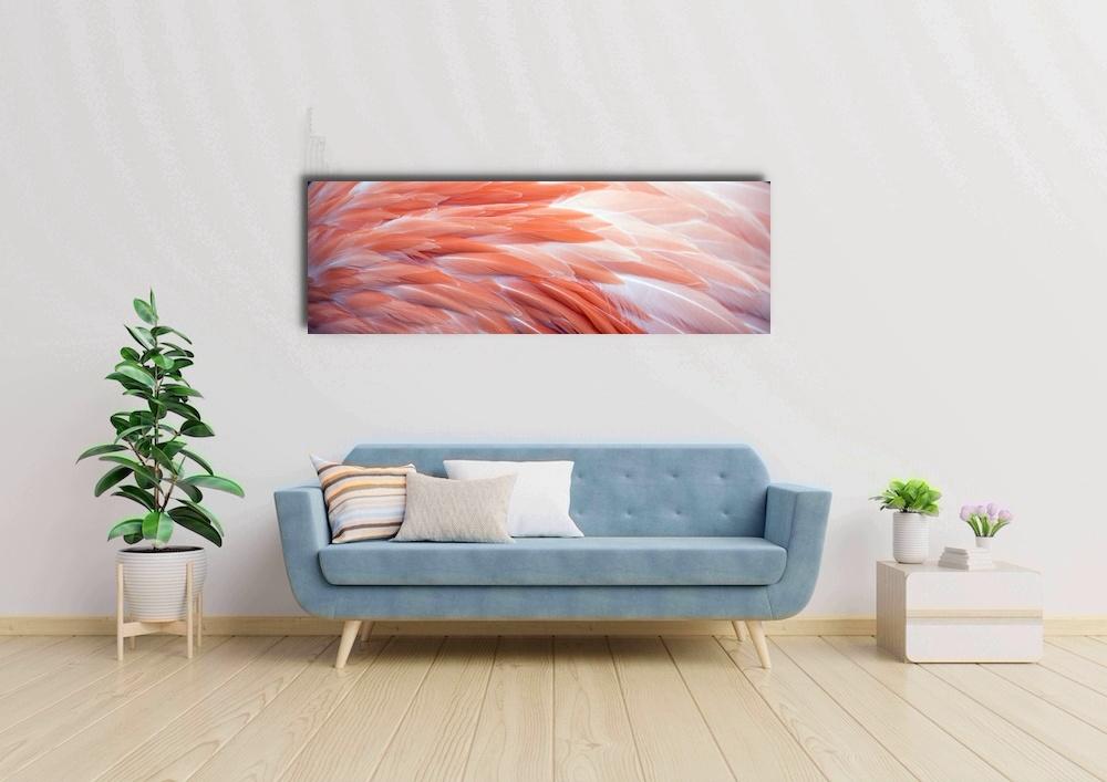 Schilderij -Flamingo veren, roze, Premium print (wanddecoratie)