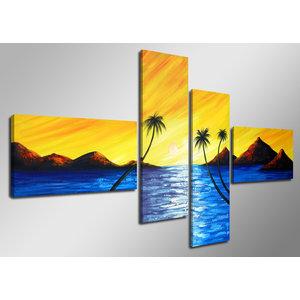 Schilderij - Paradijs in 4 luik, Palmbomen, 160x70cm, handgeschilderd