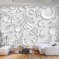 Fotobehang -Bloemen met kristallen in wit , 400x280cm
