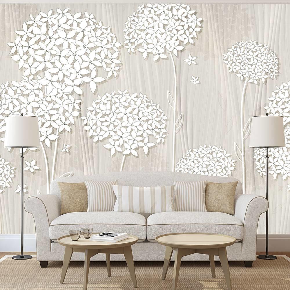 -32% SALE   Fotobehang - Bomen in het wit , 400x280cm