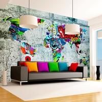 Fotobehang - Wereldkaart - Graffiti , 350x245 cm