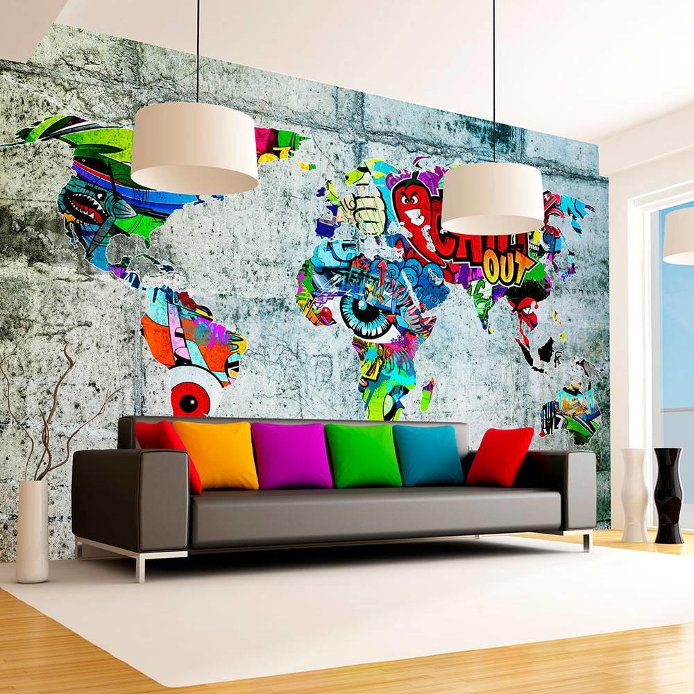 -32% SALE   Fotobehang - Wereldkaart - Graffiti , 350x245 cm
