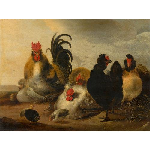 Schilderij -  Gijsbert Gillisz d' Hondecoeter, Haan en kippen in een landschap, 1651