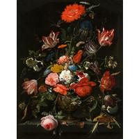 Schilderij - Abraham Mignon, Bloemen in een metalen vaas, c. 1670