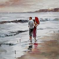 Schilderij -Handgeschilderd - Op het strand - man en vrouw - multikleur-  100x100cm