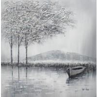 Schilderij - Handgeschilderd - Op het water 2 100x100cm