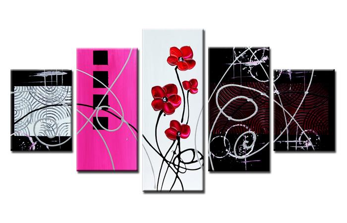 Schilderij - Bloemen in het abstract, 5 luik, 160x80cm. Print op canvas