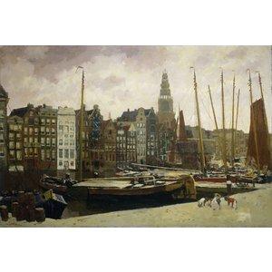 Karo-art Schilderij - Het Damrak in Amsterdam, George Hendrik Breitner, 1903