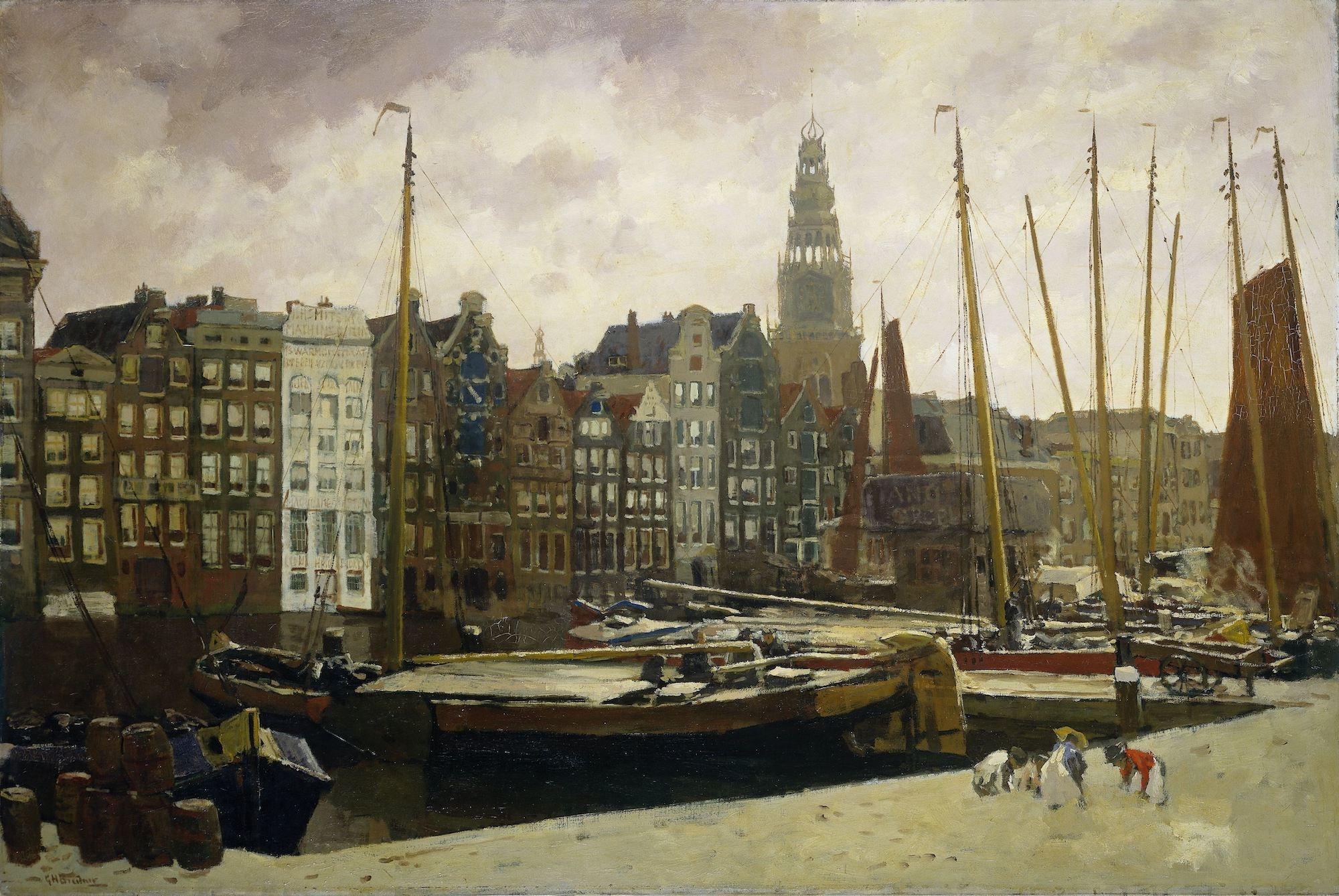Schilderij - Het Damrak in Amsterdam, George Hendrik Breitner, 1903