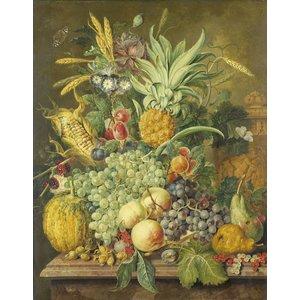Karo-art Schilderij - Stilleven met vruchten, Jacobus Linthorst, 1808