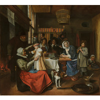 Karo-art Schilderij - Jan Steen, 'Zo de ouden zongen, zo piepen de jongen', c. 1663 - 1665 100x90cm